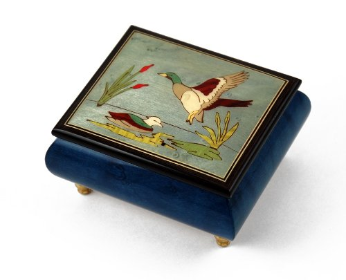 Handcrafted Birds theme Italian Music Box with Ducks and pond - Singing In The Rain