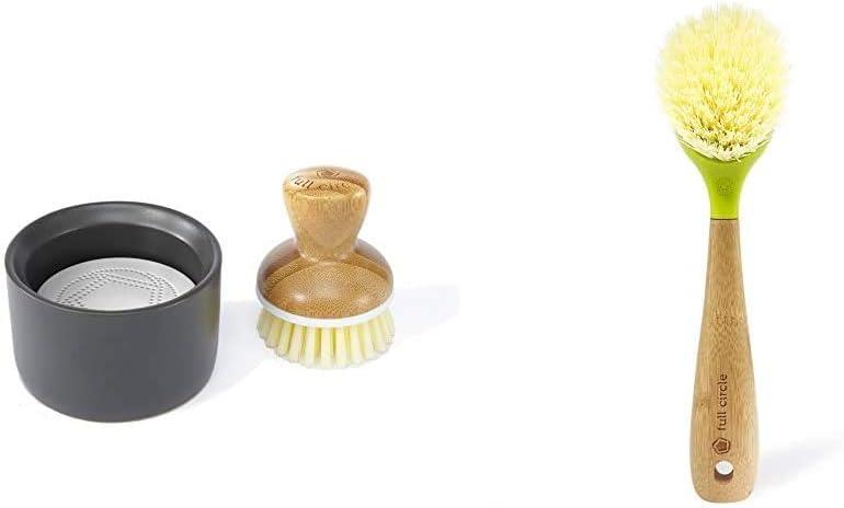 Full Circle Bubble Up Ceramic Soap Dispenser & Bamboo Dish Brush, White/Gray & Be Good Kitchen Dish Brush with Bamboo Handle, Single Brush, Green