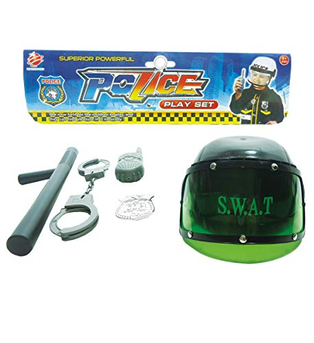 Mozlly Police Office or SWAT Rescue Complete Costume Accessories Kit, Includes Helmet Hat Baton Handcuffs Badge & More - Kids Halloween Dress Up & Boys and Girls, Styles May Vary -