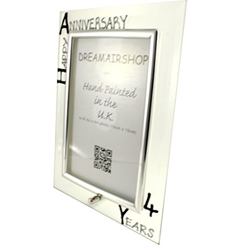 4th Year (Four Year) Anniversary Gift Photo Frame (P) (Black/Silver)