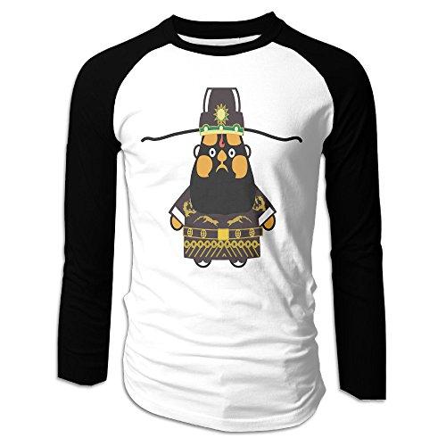 Creamfly Mens Chinese Peking Opera BaoGong Long Sleeve Raglan Baseball Tshirt XXL