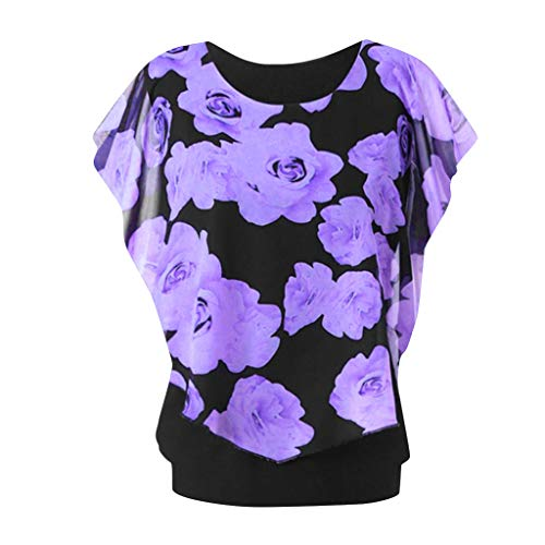 TOPUNDER Women's Fashion Round Neck Plus Size Sleeve Print Top Double Layer T-Shirt