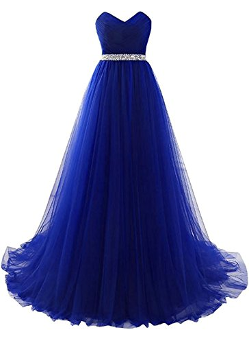 Embellished Satin A-line Dress - Royal Strapless Prom Dress Tulle Princess Evening Gowns With Rhinestone Beaded Belt Size 2