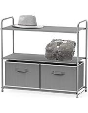SimpleHouseware 3-Tier Closet Storage Organizer Units with 2 Drawers, Grey