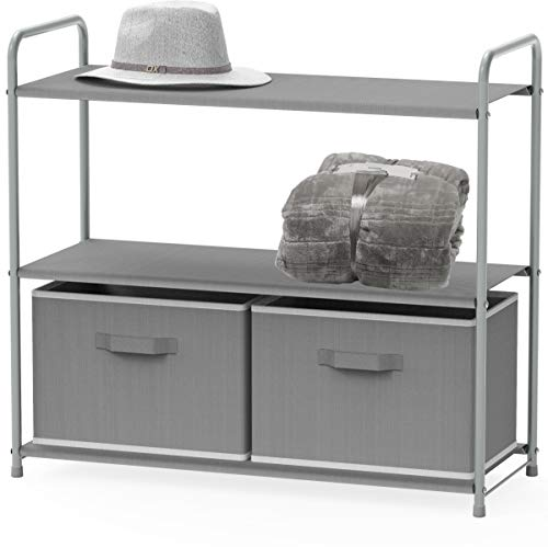 - Simple Houseware 3-Tier Closet Storage with 2 Drawers, Grey