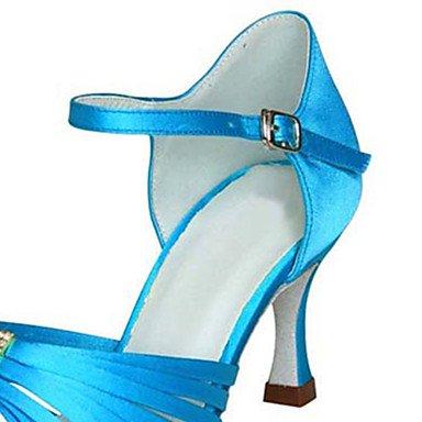 XIAMUO Anpassbare Damen Tanz Schuhe Satin Latin/Jazz/Swing Salsa Schuhe/Sandalen/Fersen angepasste HeelPractice/Anfänger, Blau, Us8.5/EU39/UK6.5/CN 40