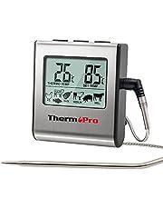 ThermoPro TP16 Digitale Koken Voedsel vlees Thermometer voor Smoker Oven Keuken Snoep BBQ Barbecue Thermometer Klok Timer met roestvrij stalen temperatuur sonde, grote LCD-display, zilver