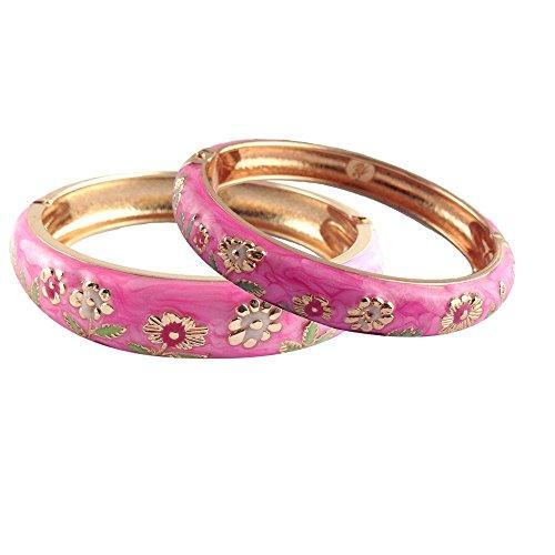 let Set Sunflower Enamel Bangles Jewelry Gift Box for Women 55C36 pink (Pink Enamel Bangle)