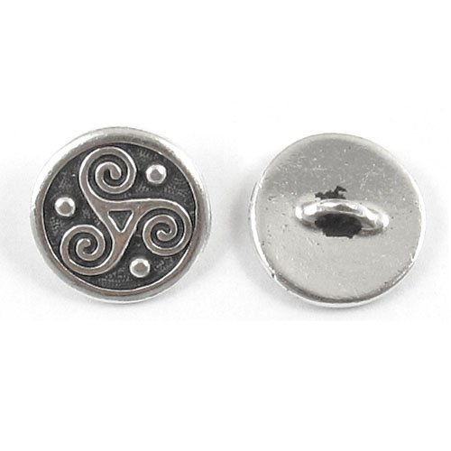 Silver Triskele Spiral Celtic Buttons TierraCast Pewter Jewelry Craft (2 Pcs)