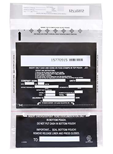 100pk 2-Pocket Cash Deposit Bags, 10″ x 14″ – Tamper Resistant Bags – Fold Over Sealing, Tamper Indicating Enclosure – Semi-Transparent 2.5 Mil Coextruded Polyethylene – SECUR-PAK