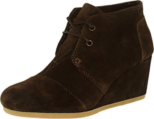 TOMS New Desert Wedge Chocolate Brown Suede 6 Womens Shoes (Suede Pumps Chocolate)