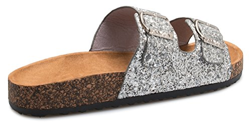 Summer Flat Olivia K Cozy Toe Open Glitter Double Buckle Fashion Silver Women's Footbed Strap Sandals 1xpEPwp
