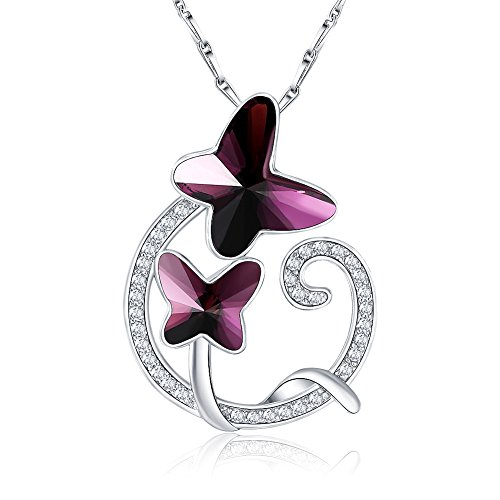 Crystal Love Heart (Citled Double Butterfly Swarovski Pendant Element Crystal Necklace For Women Love Heart Drop Pendant Platinum Plated CZ Crystal Inlaid 17
