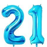 40 In Big Number 21 Mylar Balloons Blue Jumbo 21
