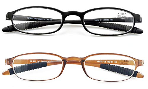 Lightweight Reading Glasses,Flexible(Memory Plastic) Readers,2 Pairs Men and Women by Mcoorn