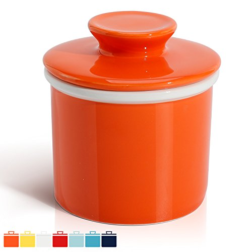 Sweese 3113 Porcelain Butter Keeper Crock - French Butter Dish - No More Hard Butter - Perfect Spreadable Consistency, Orange (Butter Keeper Porcelain)