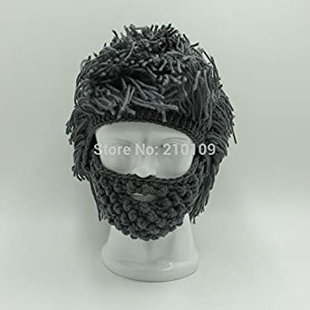 Hot Mens Boys Funny Wig Beard Hats Hobo Mad Caveman Winter Knit Warm Hat Beanies