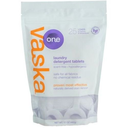Vaska One Scent Free 25 Loads Laundry Tablets, 17 Ounce -- 6 per case. by vaska