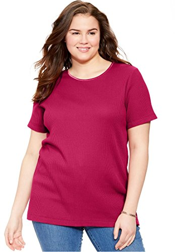 Plus Size Top, In Soft Thermal Knit With Satin Trim Ruby Rose,4X (Ruby Ribbed Tank Top)
