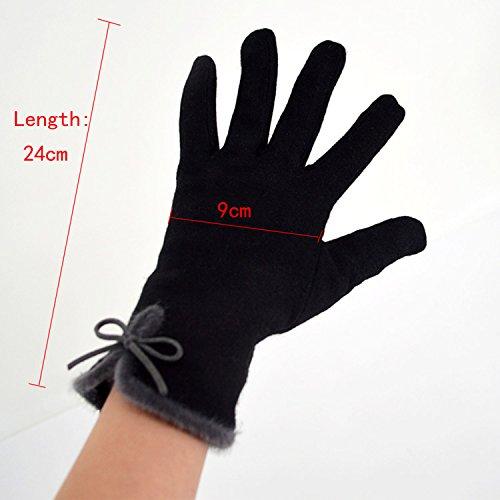 Gloves fiocco Butterfly nero in sintetica Woman L taglia Warm lana Aisi con Winter Fingers Full fdPf0qw