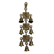 Divya Mantra Hindu Lucky Auspicious Symbol Vastu Om Ganesha 7 Bells Pure Brass Buri Nazar Battu Decor Gift Accessories/Good Luck Charm Interior Home/Office/Door/Wall Hanging Toran Bandanwar Showpiece