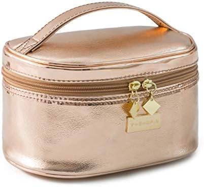化粧品収納ボックス ポータブル化粧品収納ボックス大容量化粧品バッグスタイリングスーツケースレザー素材ゴールドシルバー QTKGG (Color : Gold)