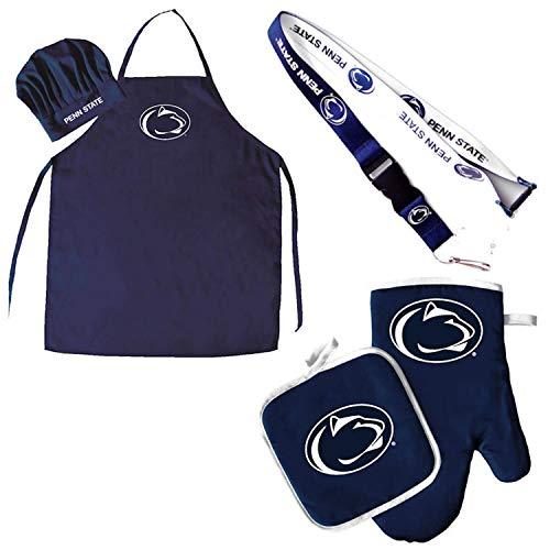 Pro Specialties Group Penn State Lions Chef hat Apron and Oven mitt Pot Holder BBQ Tailgate Set ()