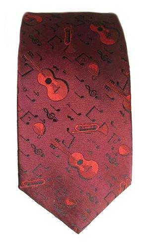 Música de seda corbata con guitarras, trompetas, billetes + llave ...