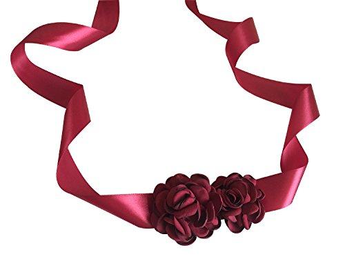 L'vow Handmade Ribbon Flower Belts Bridal Wedding Party Dress(burgundy)