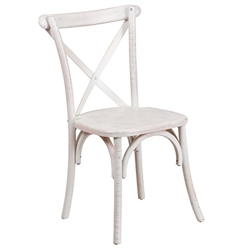 Flash Furniture HERCULES Series Limewash Wood Cross Back Chair