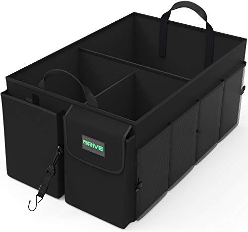 Drive Auto Products Car Cargo Trunk Organizer, Folding Compartments Are Easily Expandable To Suit Any In-vehicle Organization Needs, Secure Tie-down Strap System, Made Of Durable Oxford Fabric (Black) (Supply Kona Office)