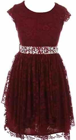 0a31d9c35 Just Kids Little Girls Burgundy Lace Ruffle Cap Sleeve Flower Girl Dress 4-6