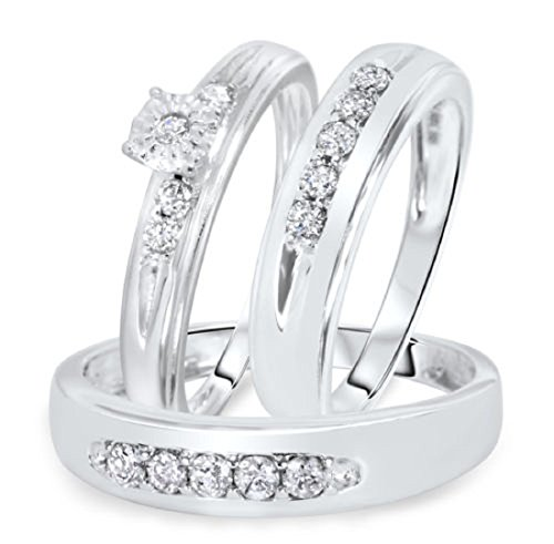 Smjewels Men's & Women's 1/2 CT Diamond Trio Wedding Ring Set 14k White Gold .925 Silver by Smjewels