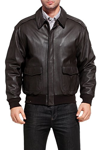 Landing Leathers Men's Air Force A-2 Goatskin Leather Flight Bomber Jacket, Dark Brown, Small (A2 Jacket)
