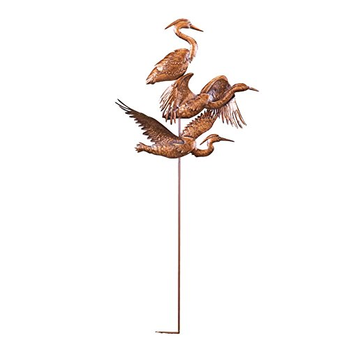 Brass Heron Garden Stake