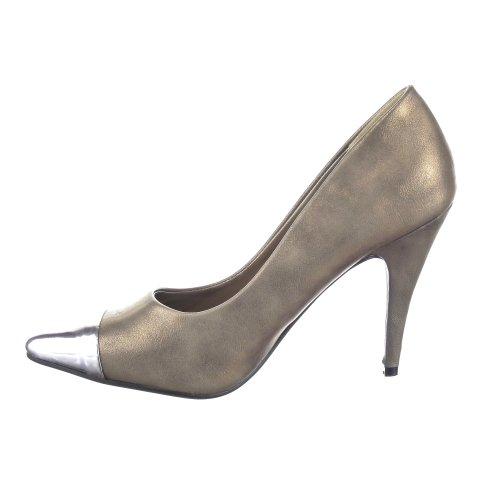 Pattino 10 Scarpa Spillo Caviglia Cm Scollatura Guida Metallo Donne Sopily Ago Bronzo Alta qTBtwpx