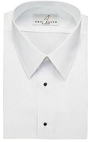 (Tuxedo Shirt - Laydown Collar 1/8 Inch Pleat Laydown Collar (S: 14.5 - 32/33, White) )