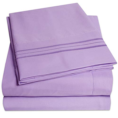 ion Bed Sheets Set - PREMIUM PEACH SKIN SOFT LUXURY 3 PIECE BED SHEET SET, SINCE 2012 - Deep Pocket Wrinkle Free Hypoallergenic Bedding - Over 40+ Colors - Twin, Lavender ()