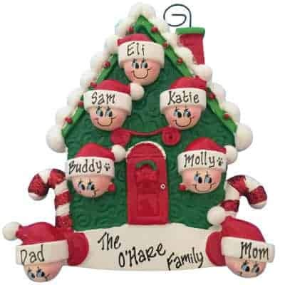 Candy Cane House Family of 7 Personalized Ornament - (Unique Christmas Tree Ornament - Classic Decor for A Holiday Party - Custom Decorations for Family Kids Baby Military Sports Or Pets)