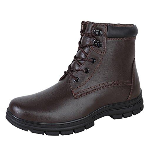 Sun Lorence Hombres Invierno Cuero Informal Con Cordones Tobillo Botas De Nieve Cálida Piel Sintética Forrado Zapatos De Negocios Brown1