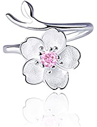 925 Sterling Silver Adjustable Open Ring for Women and Girls with Crystal, Pearl, Cat, Flower Charms.