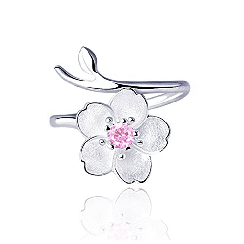 ISAACSONG.DESIGN 925 Sterling Silver Statement Adjustable Ring for Women Love Heart, Teardrop, Cat, Pearl Charms (Pink Crystal Sakura Flower)