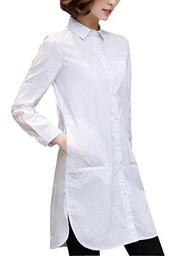 シロクマ食料品店枯渇ELPIS レディース シンプル ロングシャツ シャツワンピース ブラウス チュニック スリム Yシャツ 白 黒 (ホワイト,XXXXXL)