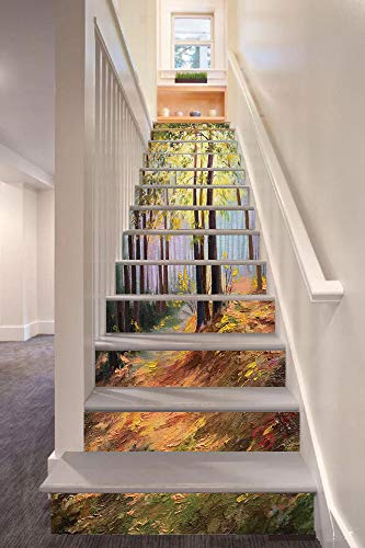 Country Decor 3D Stair Riser Stickers Removable Wall Murals Stickers,Image of Spring Landscape in The Forest with Falling Leaves and Various Trees Mod Print,for Home Decor 39.3