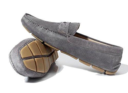 Happyshop (tm) Mens Tillfälliga Äkta Nubuck Läder Mockasin Loafers Kör Sko Slip-on Dagdrivaren Lägenheter Grå