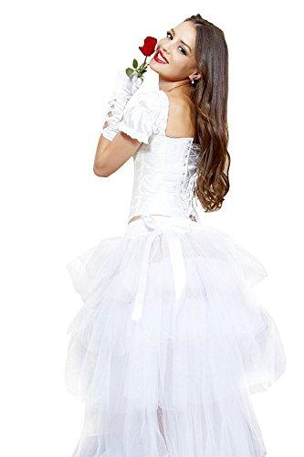 Wenxuan Women's Hi-Lo Long Tutu Skirt Layered Tulle Fancy Dress Party Skirt . (White)