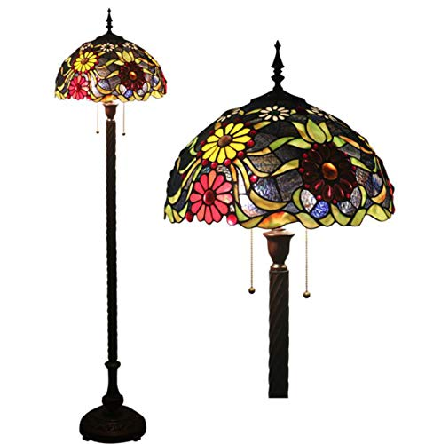 - GDLight Tiffany Style Floral Floor Standing Lamp Pastoral Flowers Stained Glass Reading Floor Lamp for Bedroom Living Room, 63 Inch Tall