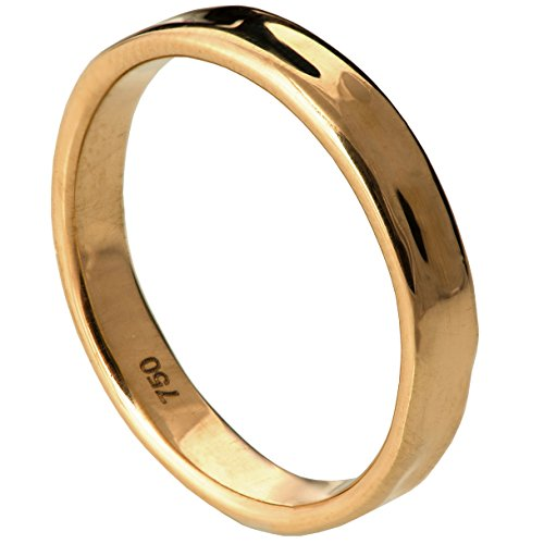 Solid 18K Rose Gold Textured Wedding Band Set His and Hers 3.8mm Wide Ring by Doron Merav