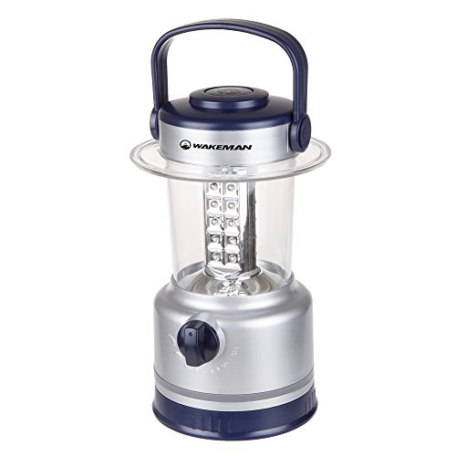 Wakeman LED Lantern, Outdoor Camping Lantern Flashlight with Adjustable Brightness, Dimmer Switch and Built-in Compass Outdoors (Silver)