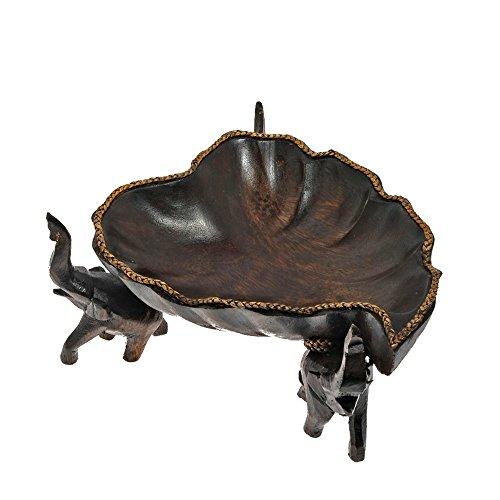 AeraVida Triumphant Elephant Heart Shaped Lotus Leaf Rain Tree Wooden Bowl (Shaped Tree Bowls)